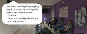 Woensdag 9 oktober Plaatje: Privacy in de wachtkamer